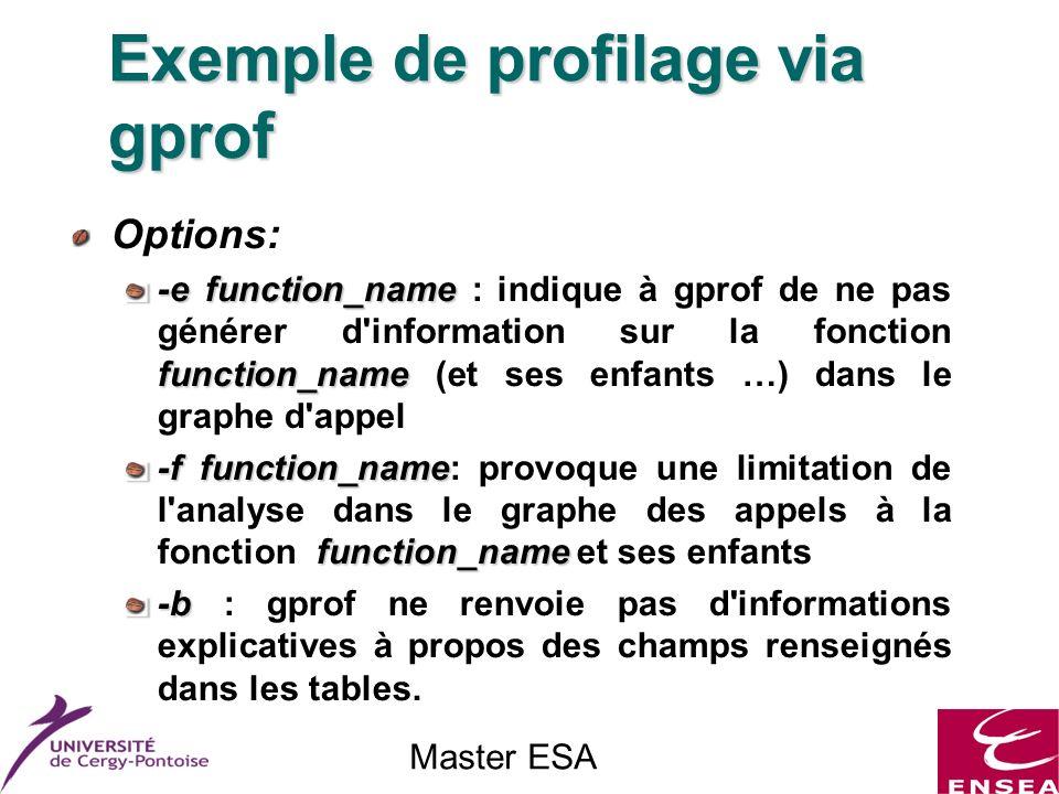 Master ESA Options: -efunction_name function_name -e function_name : indique à gprof de ne pas générer d information sur la fonction function_name (et ses enfants …) dans le graphe d appel -ffunction_name function_name -f function_name: provoque une limitation de l analyse dans le graphe des appels à la fonction function_name et ses enfants -b -b : gprof ne renvoie pas d informations explicatives à propos des champs renseignés dans les tables.