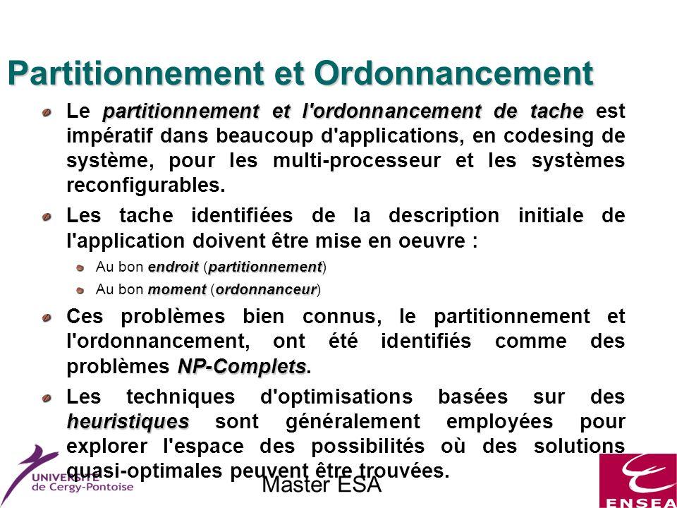 Master ESA Partitionnement et Ordonnancement partitionnement et l ordonnancement de tache Le partitionnement et l ordonnancement de tache est impératif dans beaucoup d applications, en codesing de système, pour les multi-processeur et les systèmes reconfigurables.