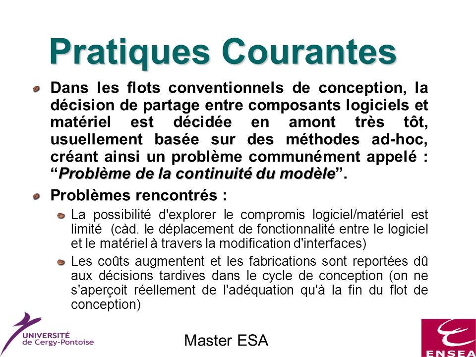 Master ESA Pratiques Courantes Problème de la continuité du modèle Dans les flots conventionnels de conception, la décision de partage entre composants logiciels et matériel est décidée en amont très tôt, usuellement basée sur des méthodes ad-hoc, créant ainsi un problème communément appelé :Problème de la continuité du modèle.