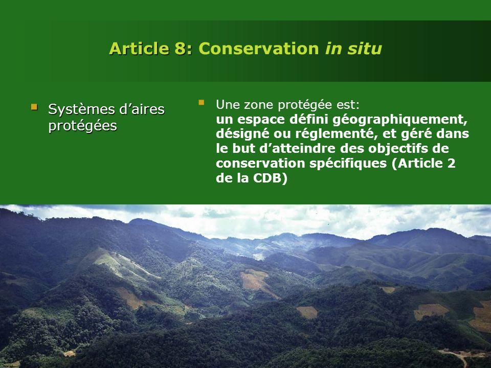 Article 8: Article 8: Conservation in situ Systèmes daires protégées Systèmes daires protégées Une zone protégée est: un espace défini géographiquement, désigné ou réglementé, et géré dans le but datteindre des objectifs de conservation spécifiques (Article 2 de la CDB)