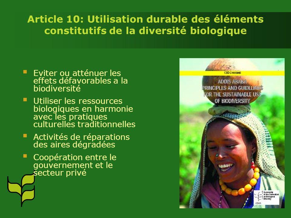 Article 10: Utilisation durable des éléments constitutifs de la diversité biologique Eviter ou atténuer les effets défavorables a la biodiversité Utiliser les ressources biologiques en harmonie avec les pratiques culturelles traditionnelles Activités de réparations des aires dégradées Coopération entre le gouvernement et le secteur privé