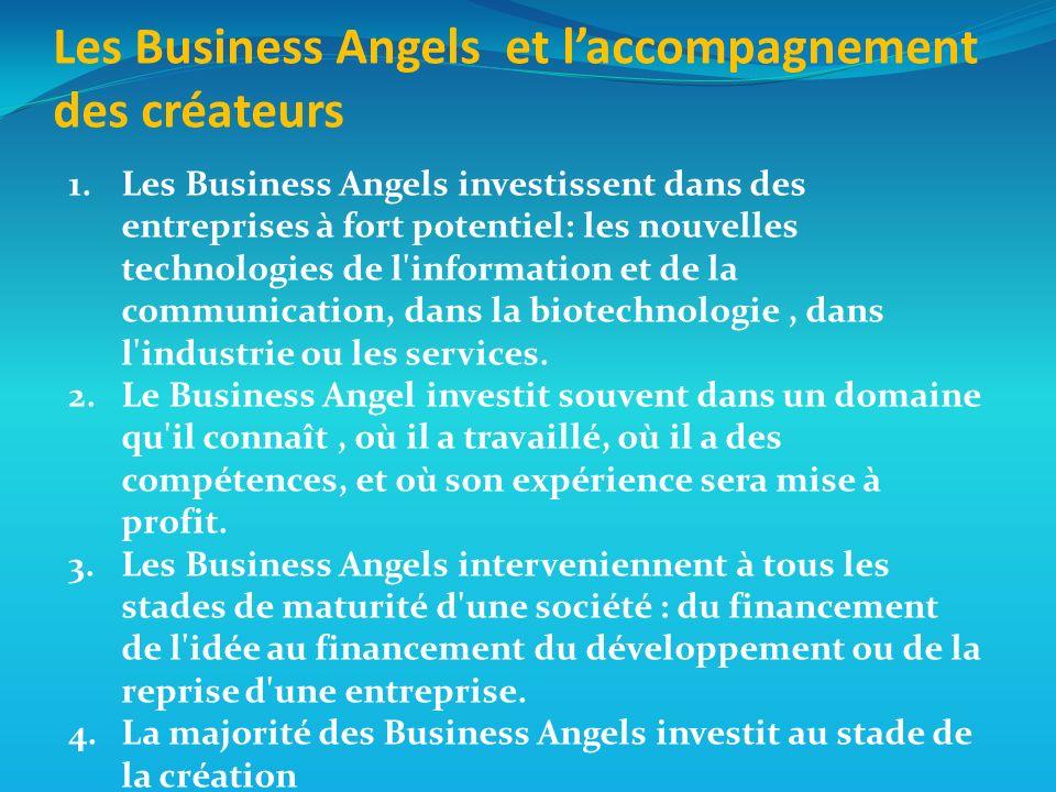 1.Les Business Angels investissent dans des entreprises à fort potentiel: les nouvelles technologies de l information et de la communication, dans la biotechnologie, dans l industrie ou les services.
