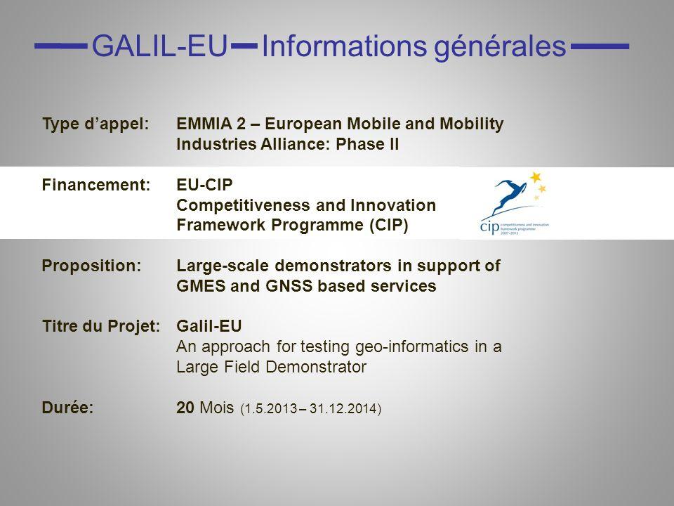 GALIL-EU Objectifs Renforcer le développement et la visibilité internationale de lindustrie régionale utilisant les systèmes GMES*, Galileo et EGNOS* Étendre les opportunités mutuelles et les bénéfices de lusage des systèmes GMES/GNSS* dans le transport terrestre et dans la géodésie avec toutes les acteurs pertinents de la région (NRW & EMR) Se développer dans le sens des objectifs politiques actuels et de leur mise en œuvre (automotiveGATE, railGATE, Galileo Application Center) Inclure le secteur géomatique Utiliser le savoir-faire spécifique de la géomatique et ses exigences pour des applications de haute précision Appliquer cette technologie au transport, i.e.