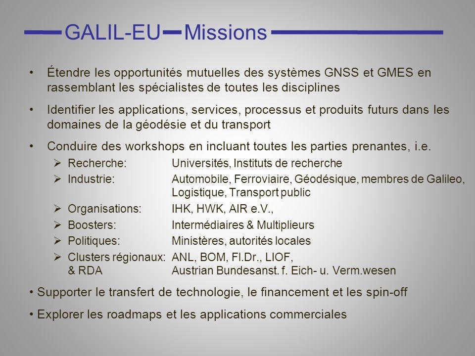 Étendre les opportunités mutuelles des systèmes GNSS et GMES en rassemblant les spécialistes de toutes les disciplines Identifier les applications, services, processus et produits futurs dans les domaines de la géodésie et du transport Conduire des workshops en incluant toutes les parties prenantes, i.e.