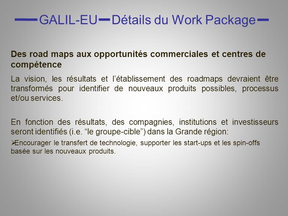 GALIL-EU Détails du Work Package Des road maps aux opportunités commerciales et centres de compétence La vision, les résultats et létablissement des roadmaps devraient être transformés pour identifier de nouveaux produits possibles, processus et/ou services.