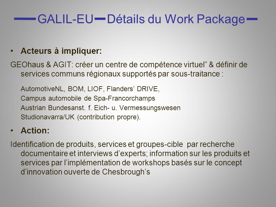 GALIL-EU Détails du Work Package Acteurs à impliquer: GEOhaus & AGIT: créer un centre de compétence virtuel & définir de services communs régionaux su