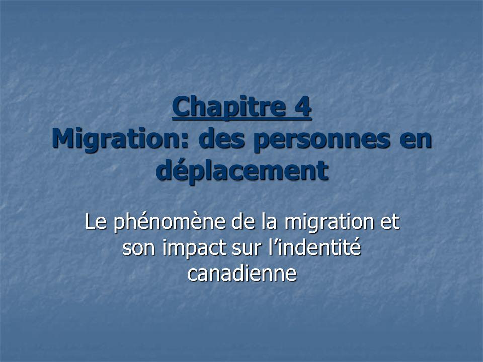 Chapitre 4 Migration: des personnes en déplacement Le phénomène de la migration et son impact sur lindentité canadienne