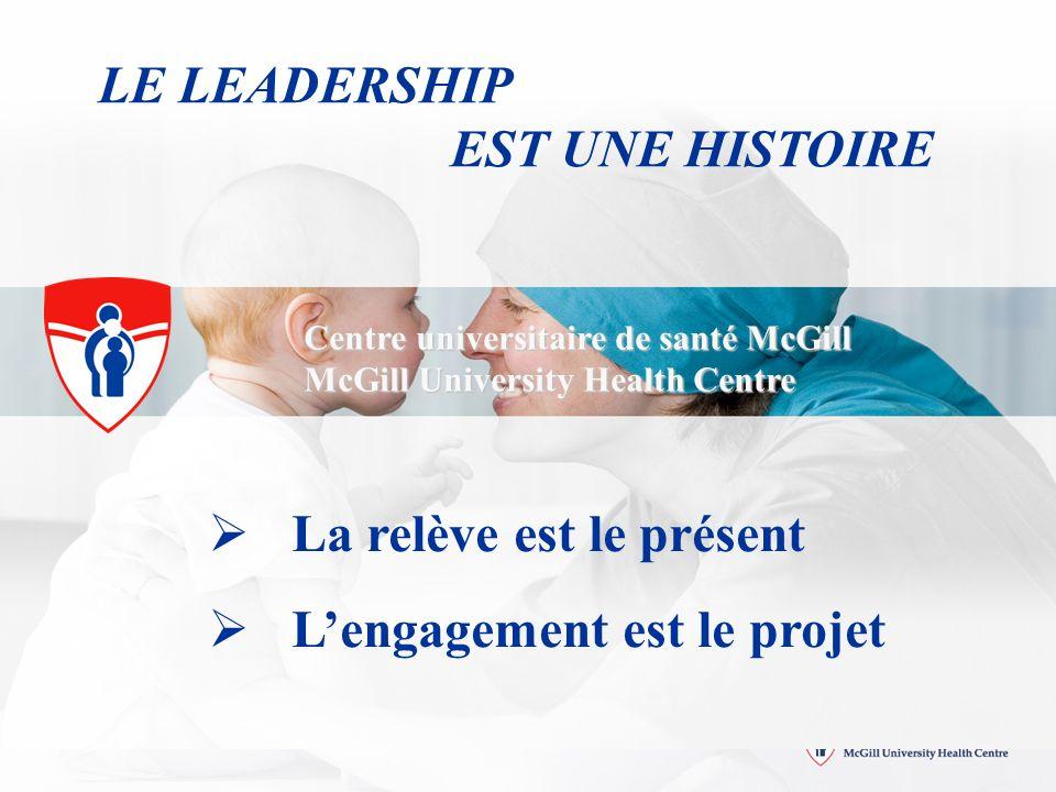 Centre universitaire de santé McGill McGill University Health Centre LE LEADERSHIP EST UNE HISTOIRE La relève est le présent Lengagement est le projet