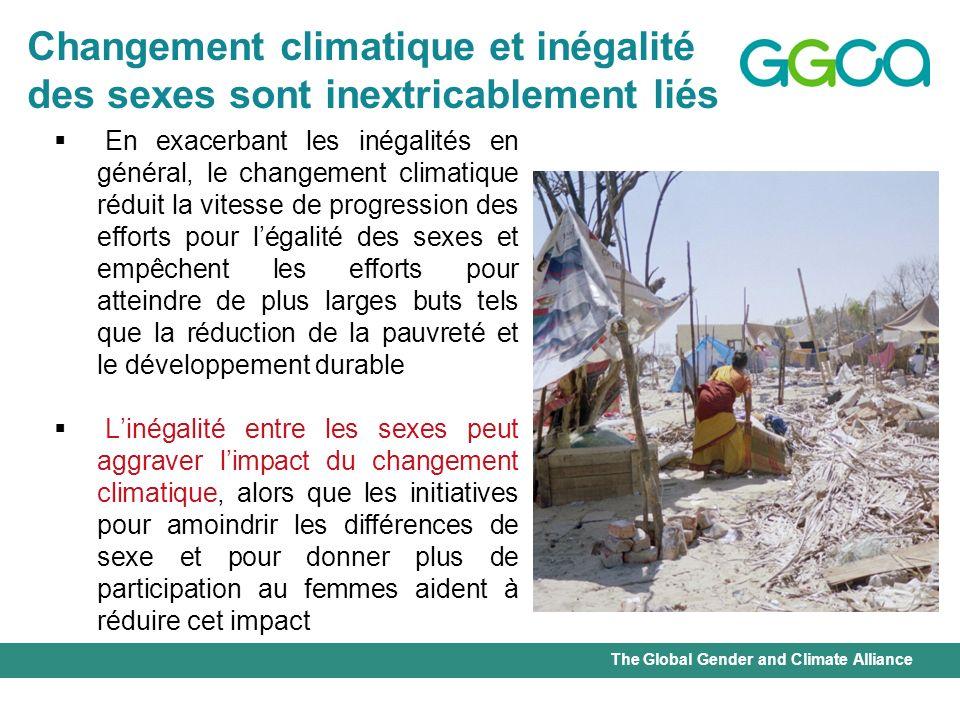 The Global Gender and Climate Alliance En exacerbant les inégalités en général, le changement climatique réduit la vitesse de progression des efforts