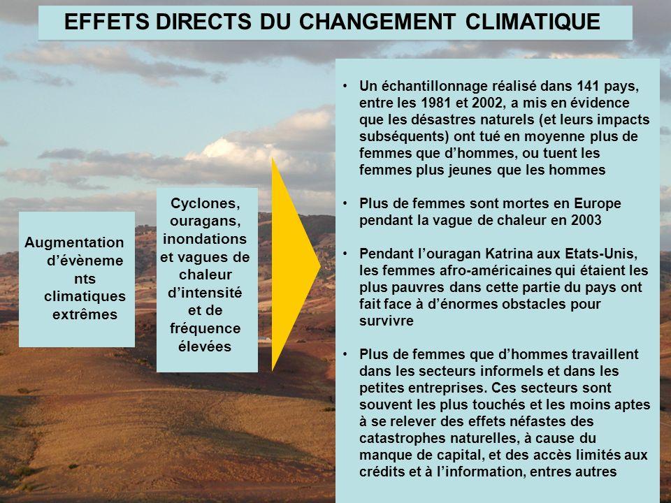 The Global Gender and Climate Alliance Augmentation dévèneme nts climatiques extrêmes Un échantillonnage réalisé dans 141 pays, entre les 1981 et 2002