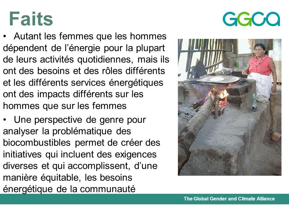 The Global Gender and Climate Alliance Faits Autant les femmes que les hommes dépendent de lénergie pour la plupart de leurs activités quotidiennes, m