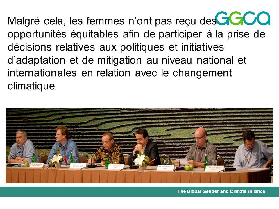 The Global Gender and Climate Alliance Malgré cela, les femmes nont pas reçu des opportunités équitables afin de participer à la prise de décisions re