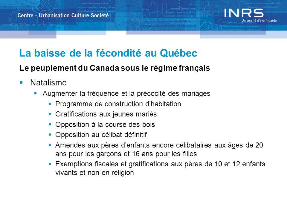 La baisse de la fécondité au Québec Le peuplement du Canada sous le régime français Natalisme Augmenter la fréquence et la précocité des mariages Prog