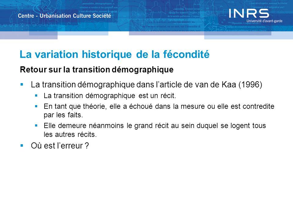 La variation historique de la fécondité Retour sur la transition démographique La transition démographique dans larticle de van de Kaa (1996) La transition démographique est un récit.