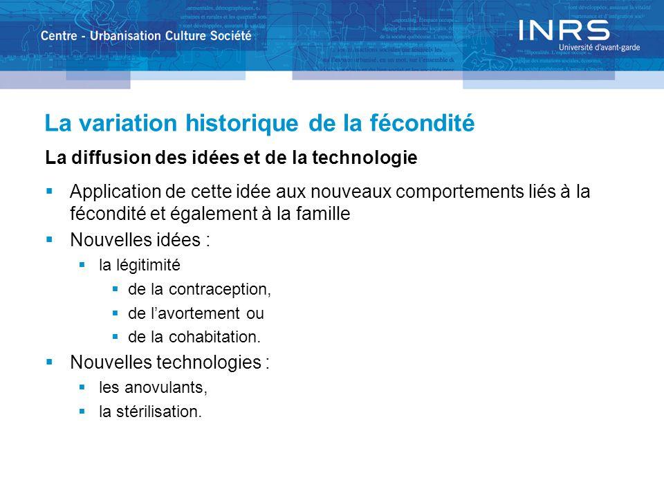 La variation historique de la fécondité La diffusion des idées et de la technologie Application de cette idée aux nouveaux comportements liés à la féc