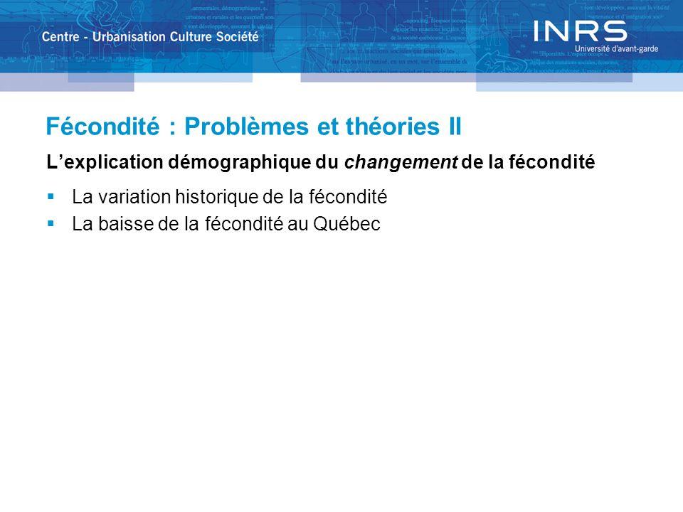 Fécondité : Problèmes et théories II Lexplication démographique du changement de la fécondité La variation historique de la fécondité La baisse de la fécondité au Québec