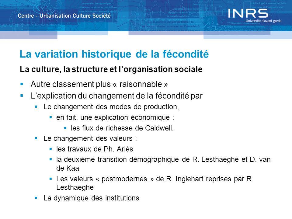 La variation historique de la fécondité La culture, la structure et lorganisation sociale Autre classement plus « raisonnable » Lexplication du change