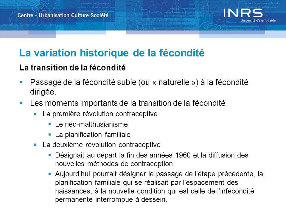 La variation historique de la fécondité La transition de la fécondité Passage de la fécondité subie (ou « naturelle ») à la fécondité dirigée.