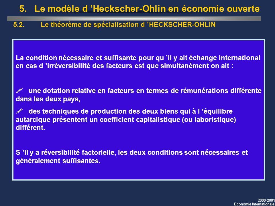 2000-2001 Economie Internationale 5.2. Le théorème de spécialisation d HECKSCHER-OHLIN La condition nécessaire et suffisante pour qu il y ait échange