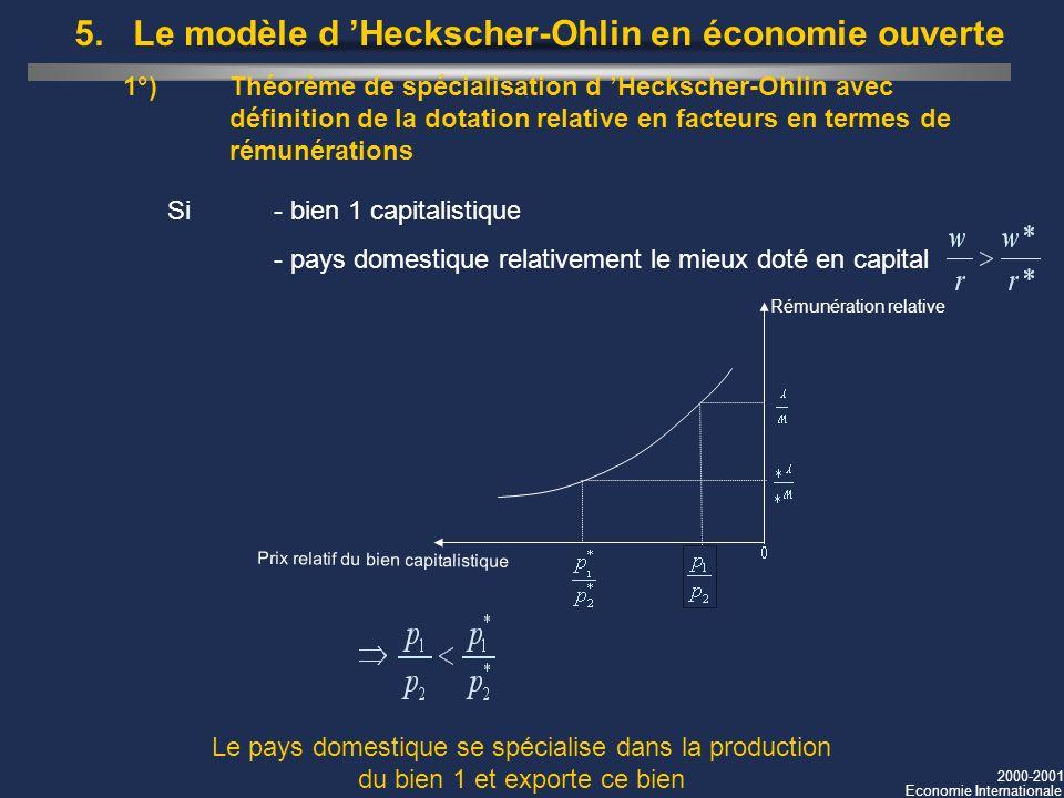2000-2001 Economie Internationale 1°)Théorème de spécialisation d Heckscher-Ohlin avec définition de la dotation relative en facteurs en termes de rém
