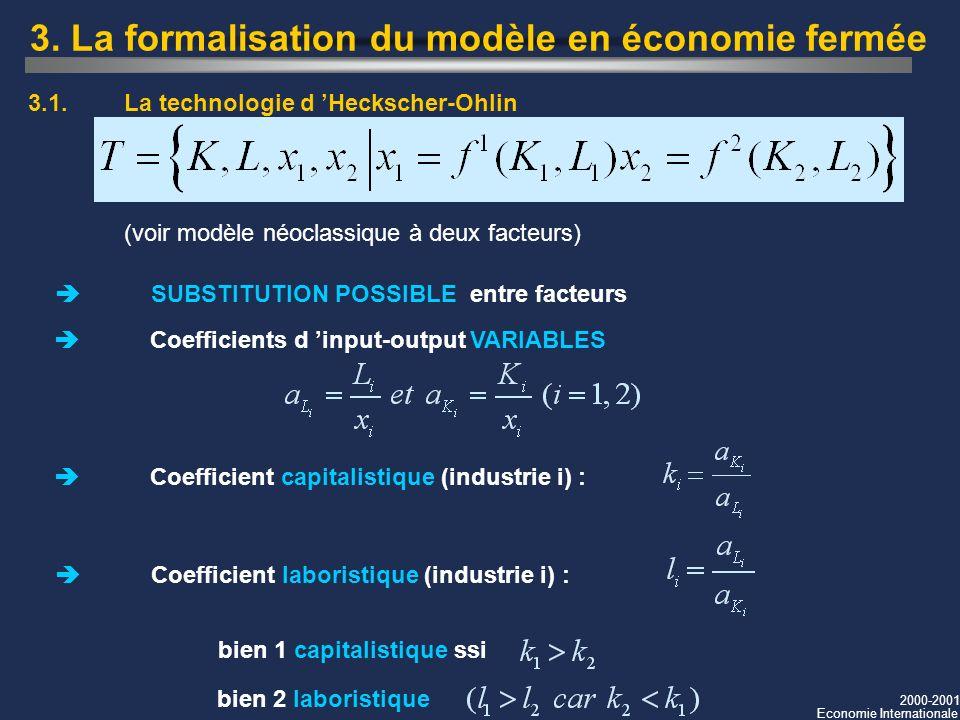 2000-2001 Economie Internationale 3. La formalisation du modèle en économie fermée SUBSTITUTION POSSIBLE entre facteurs Coefficients d input-output VA
