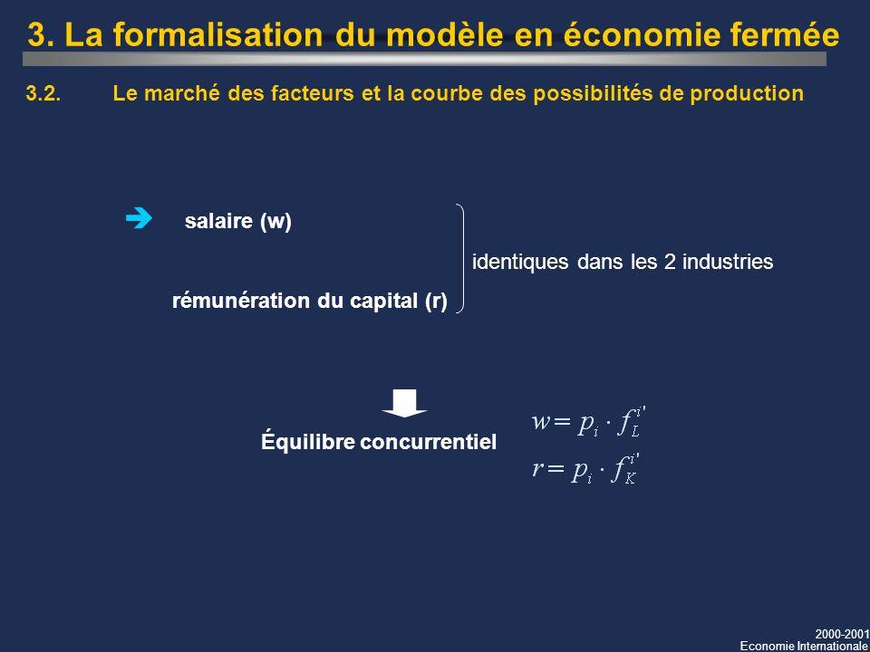 2000-2001 Economie Internationale 3. La formalisation du modèle en économie fermée 3.2.Le marché des facteurs et la courbe des possibilités de product