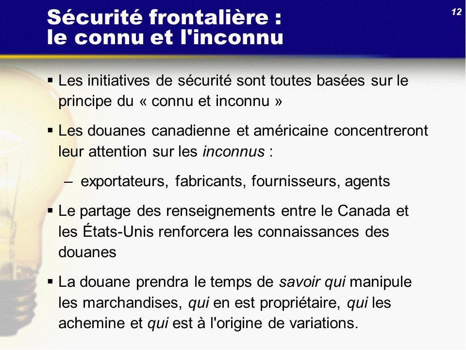 12 Sécurité frontalière : le connu et l'inconnu Les initiatives de sécurité sont toutes basées sur le principe du « connu et inconnu » Les douanes can