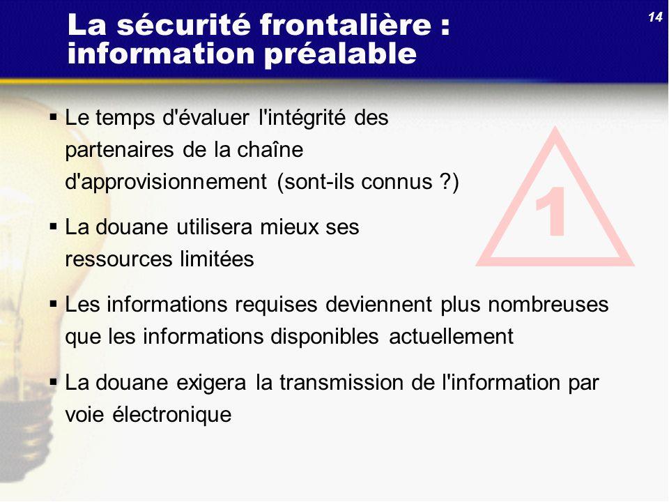 14 1 Le temps d'évaluer l'intégrité des partenaires de la chaîne d'approvisionnement (sont-ils connus ?) La douane utilisera mieux ses ressources limi