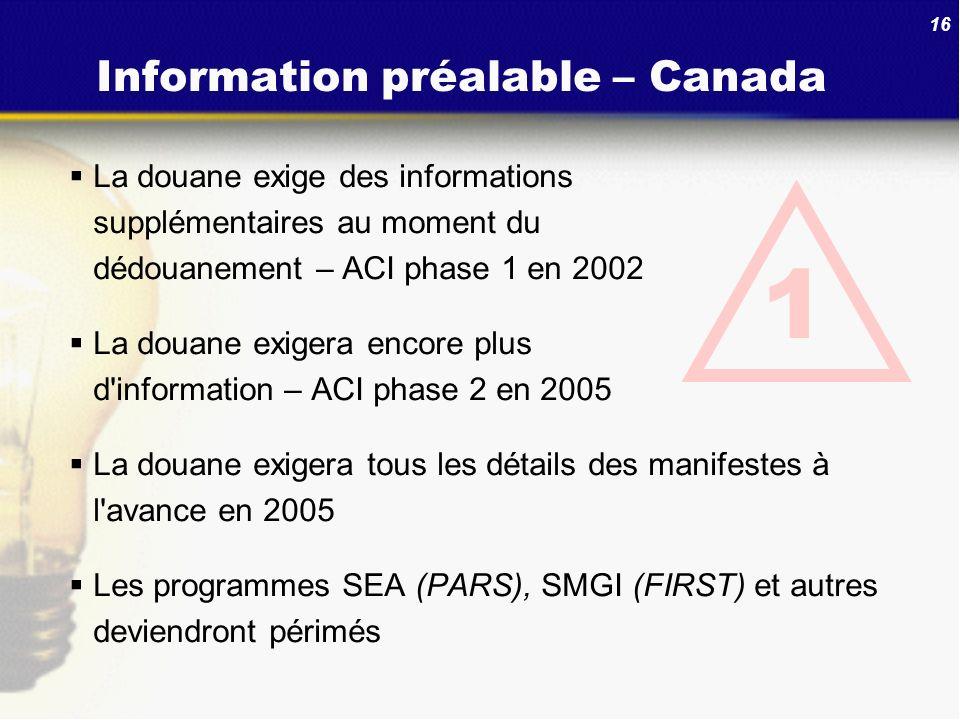 16 Information préalable – Canada La douane exige des informations supplémentaires au moment du dédouanement – ACI phase 1 en 2002 La douane exigera e