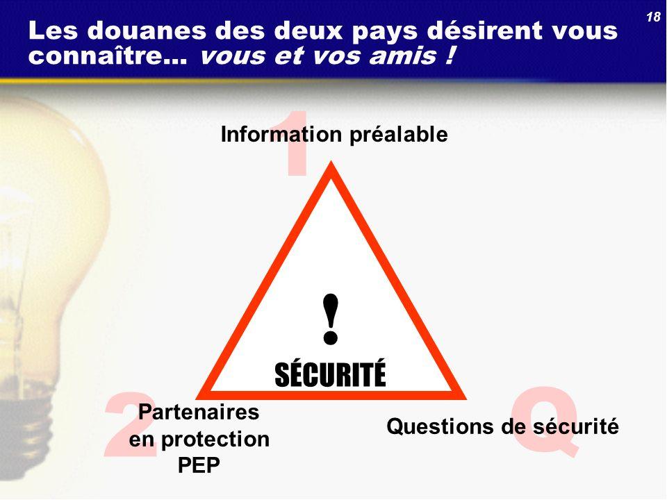 18 Q 2 1 Les douanes des deux pays désirent vous connaître... vous et vos amis ! Partenaires en protection PEP Information préalable ! SÉCURITÉ Questi