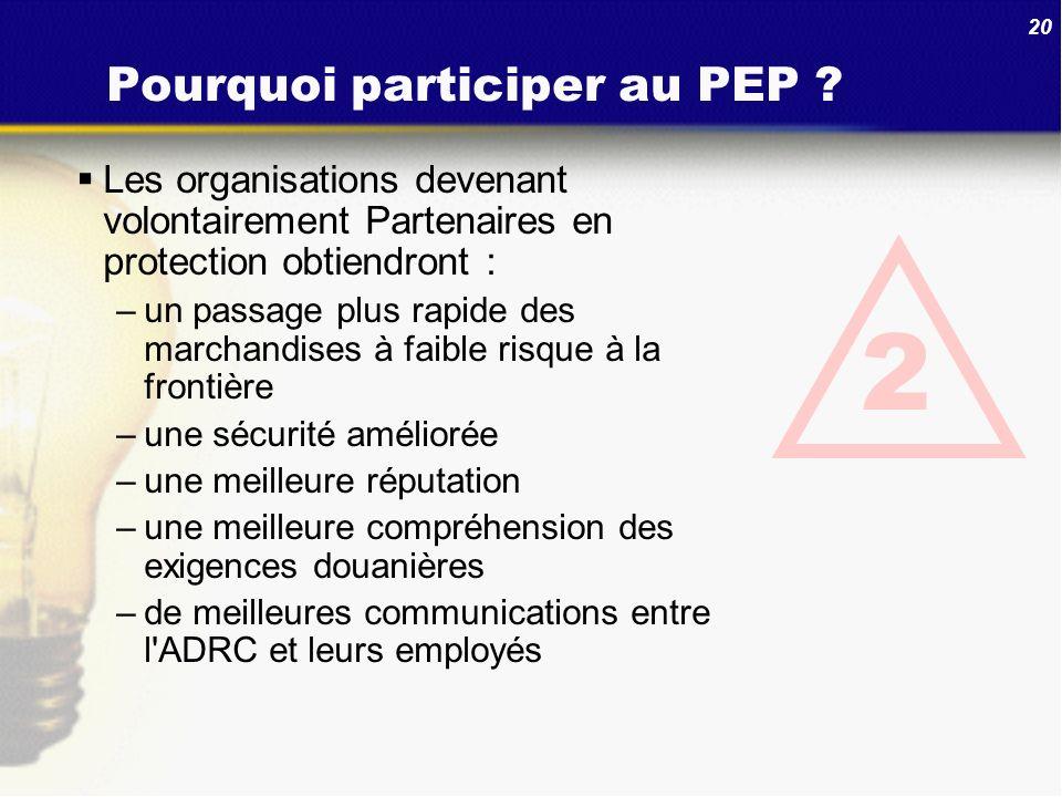 20 Pourquoi participer au PEP ? Les organisations devenant volontairement Partenaires en protection obtiendront : –un passage plus rapide des marchand
