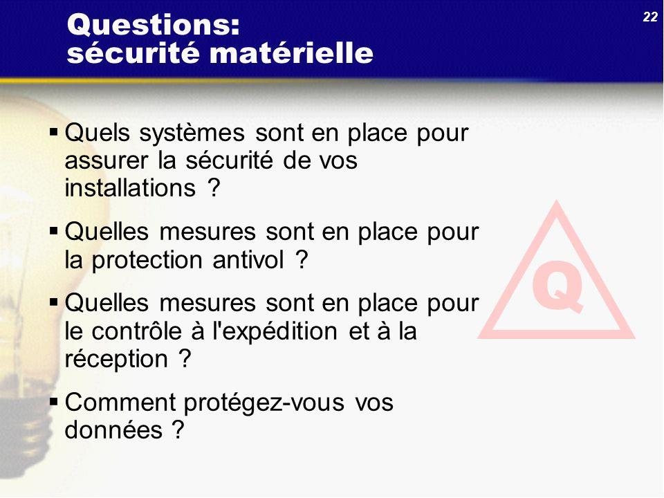 22 Questions: sécurité matérielle Quels systèmes sont en place pour assurer la sécurité de vos installations ? Quelles mesures sont en place pour la p