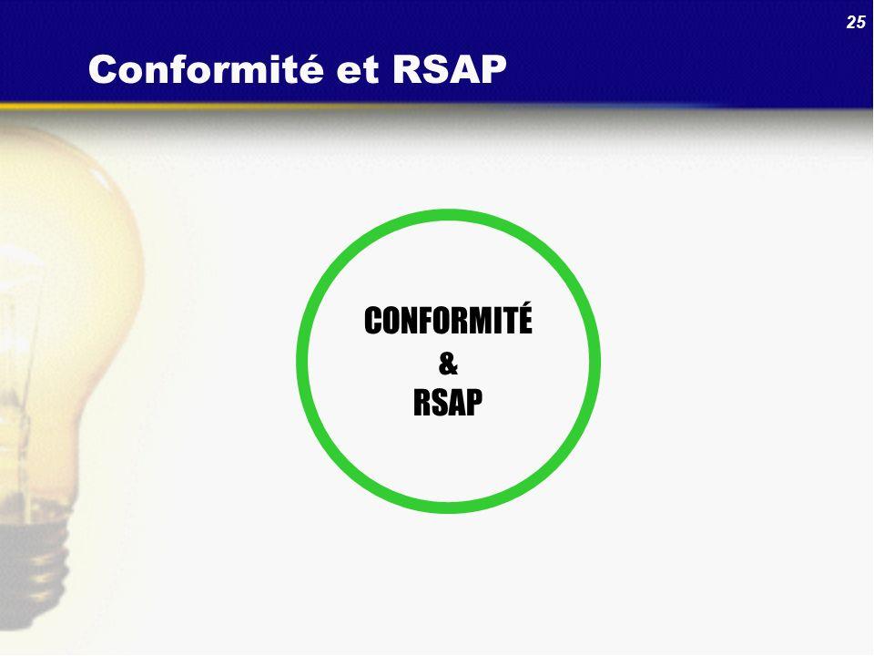 25 Conformité et RSAP CONFORMITÉ & RSAP