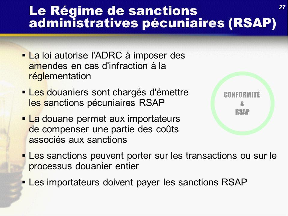 27 Le Régime de sanctions administratives pécuniaires (RSAP) La loi autorise l'ADRC à imposer des amendes en cas d'infraction à la réglementation Les