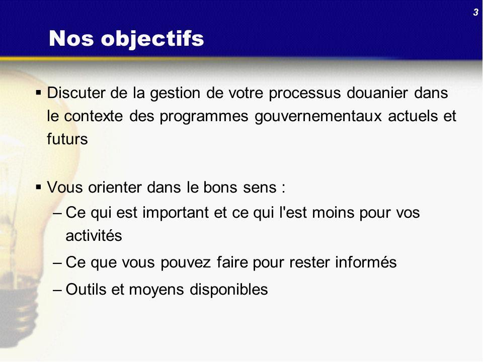 3 Nos objectifs Discuter de la gestion de votre processus douanier dans le contexte des programmes gouvernementaux actuels et futurs Vous orienter dan