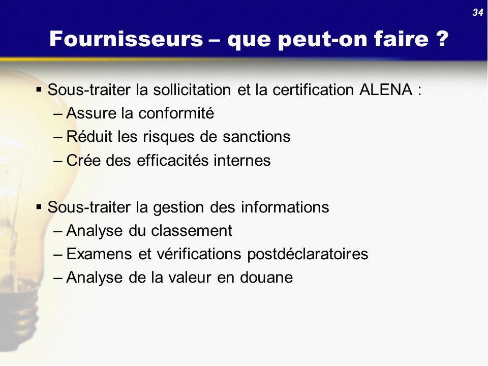 34 Fournisseurs – que peut-on faire ? Sous-traiter la sollicitation et la certification ALENA : –Assure la conformité –Réduit les risques de sanctions