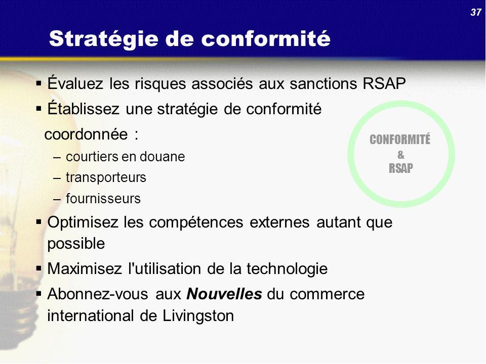 37 Stratégie de conformité Évaluez les risques associés aux sanctions RSAP Établissez une stratégie de conformité coordonnée : –courtiers en douane –t