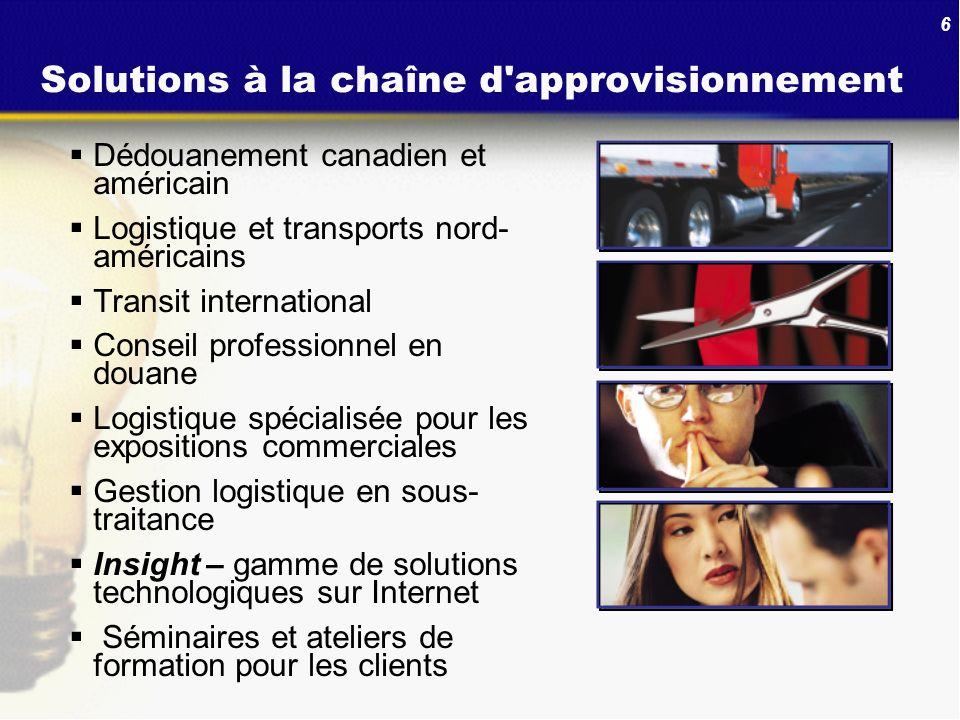 6 Solutions à la chaîne d'approvisionnement Dédouanement canadien et américain Logistique et transports nord- américains Transit international Conseil