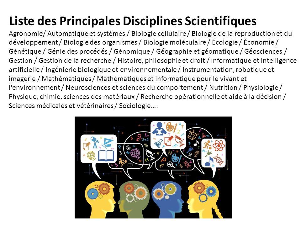 Liste des Principales Disciplines Scientifiques Agronomie/ Automatique et systèmes / Biologie cellulaire / Biologie de la reproduction et du développe