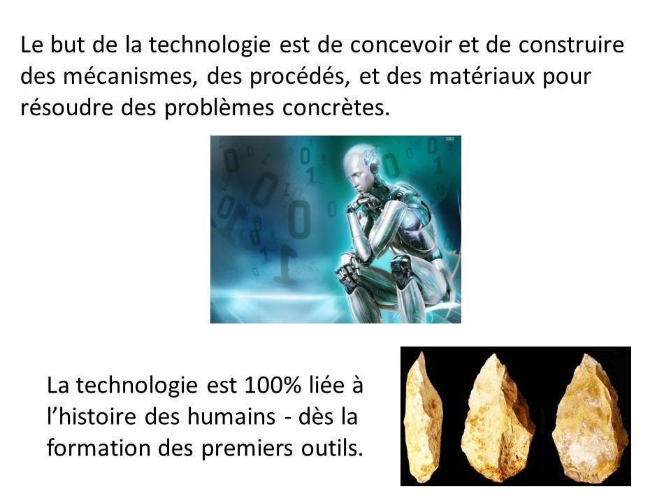 Le but de la technologie est de concevoir et de construire des mécanismes, des procédés, et des matériaux pour résoudre des problèmes concrètes. La te
