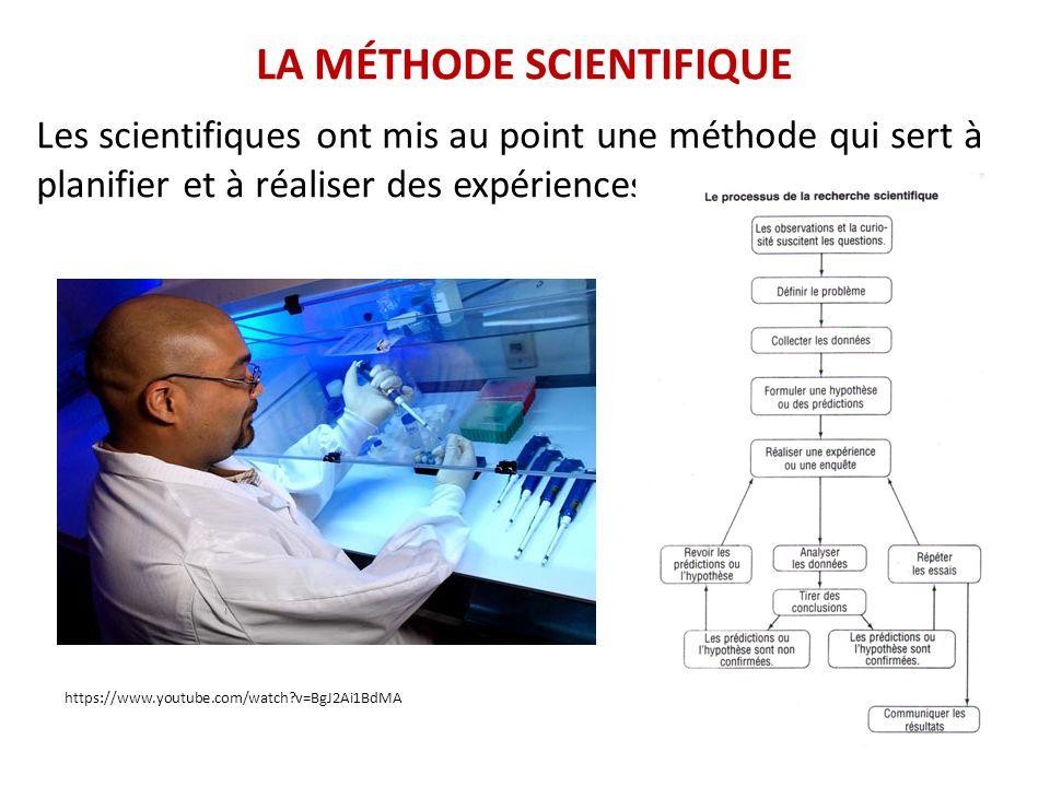 Les scientifiques ont mis au point une méthode qui sert à planifier et à réaliser des expériences. LA MÉTHODE SCIENTIFIQUE https://www.youtube.com/wat