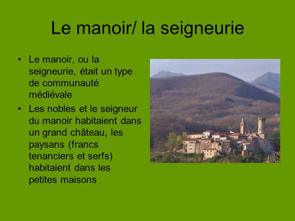 Le manoir/ la seigneurie Le manoir, ou la seigneurie, était un type de communauté médiévale Les nobles et le seigneur du manoir habitaient dans un grand château, les paysans (francs tenanciers et serfs) habitaient dans les petites maisons