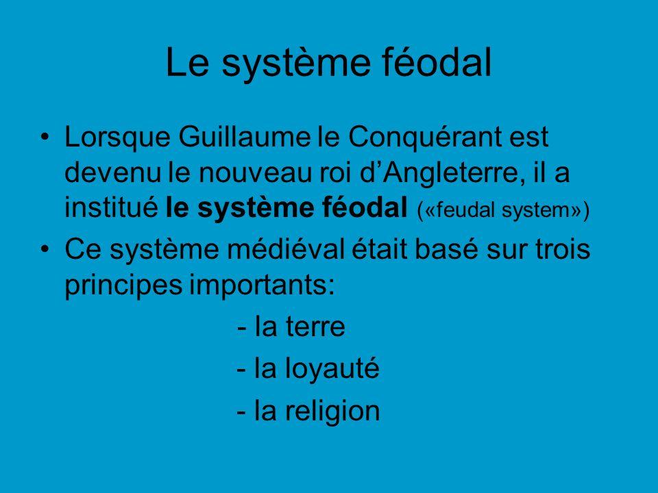 Le système féodal Lorsque Guillaume le Conquérant est devenu le nouveau roi dAngleterre, il a institué le système féodal («feudal system») Ce système médiéval était basé sur trois principes importants: - la terre - la loyauté - la religion