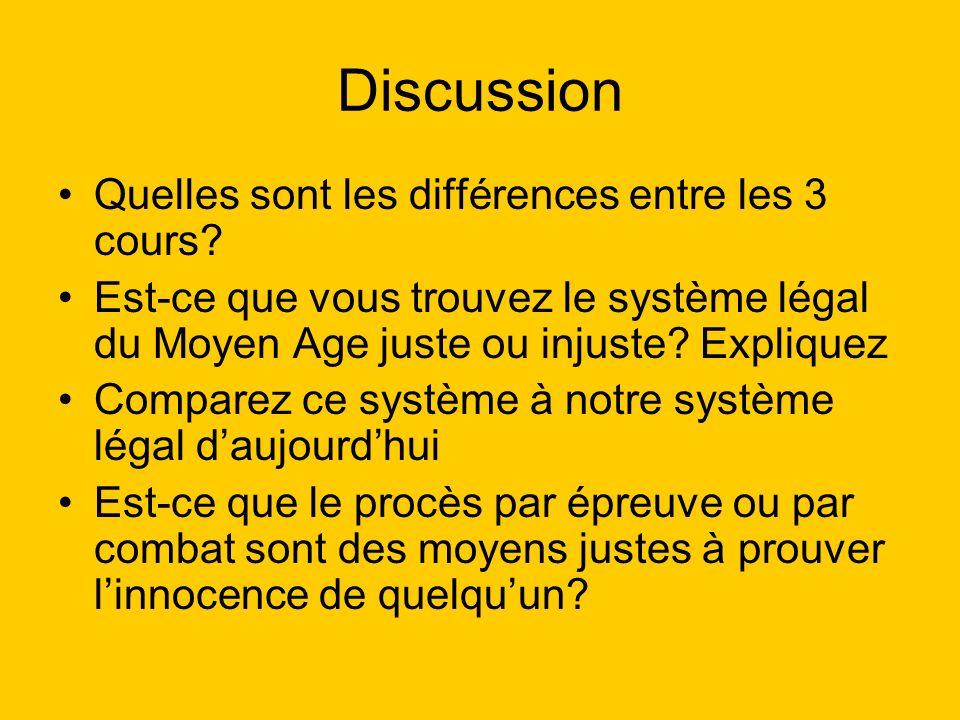 Discussion Quelles sont les différences entre les 3 cours.