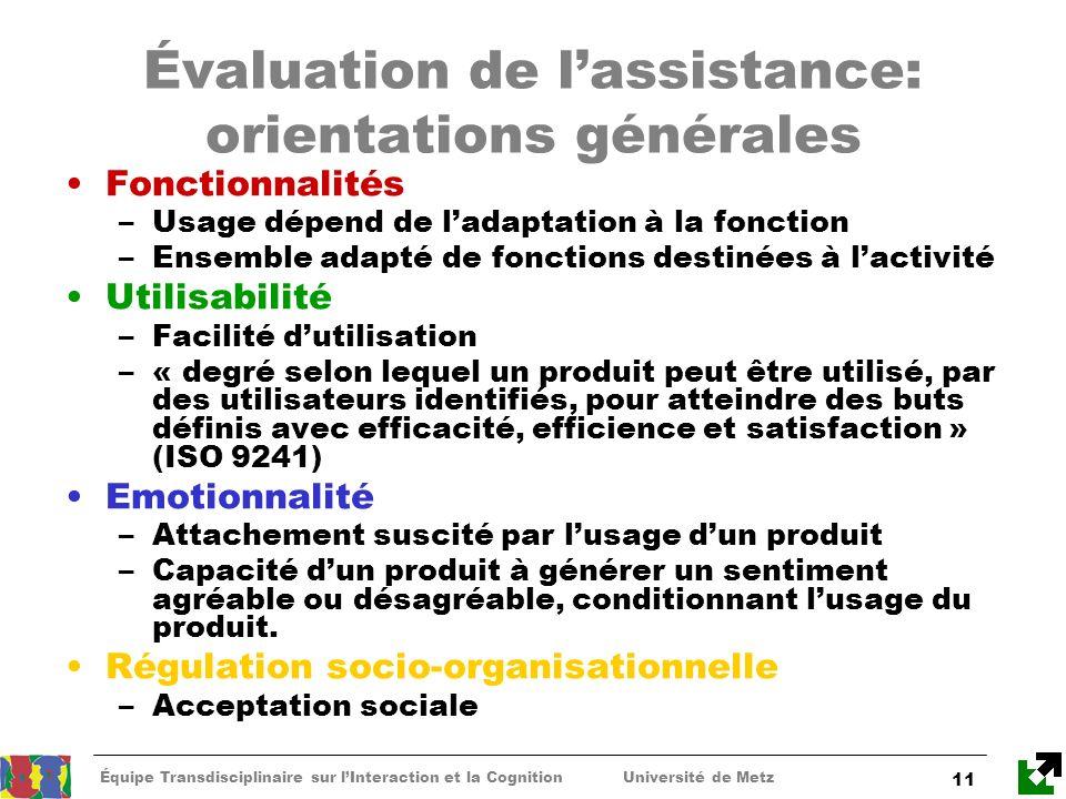 Équipe Transdisciplinaire sur lInteraction et la Cognition Université de Metz 11 Évaluation de lassistance: orientations générales Fonctionnalités –Us