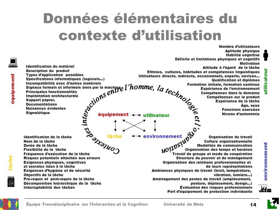 Équipe Transdisciplinaire sur lInteraction et la Cognition Université de Metz 14 Données élémentaires du contexte dutilisation Nombre dutilisateurs Ap