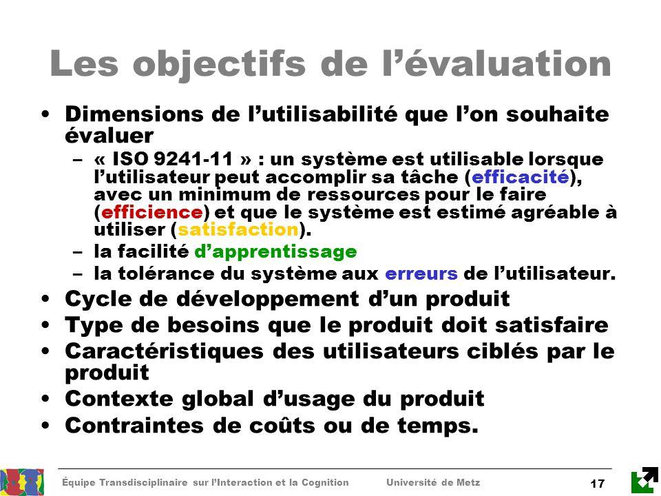 Équipe Transdisciplinaire sur lInteraction et la Cognition Université de Metz 17 Les objectifs de lévaluation Dimensions de lutilisabilité que lon sou