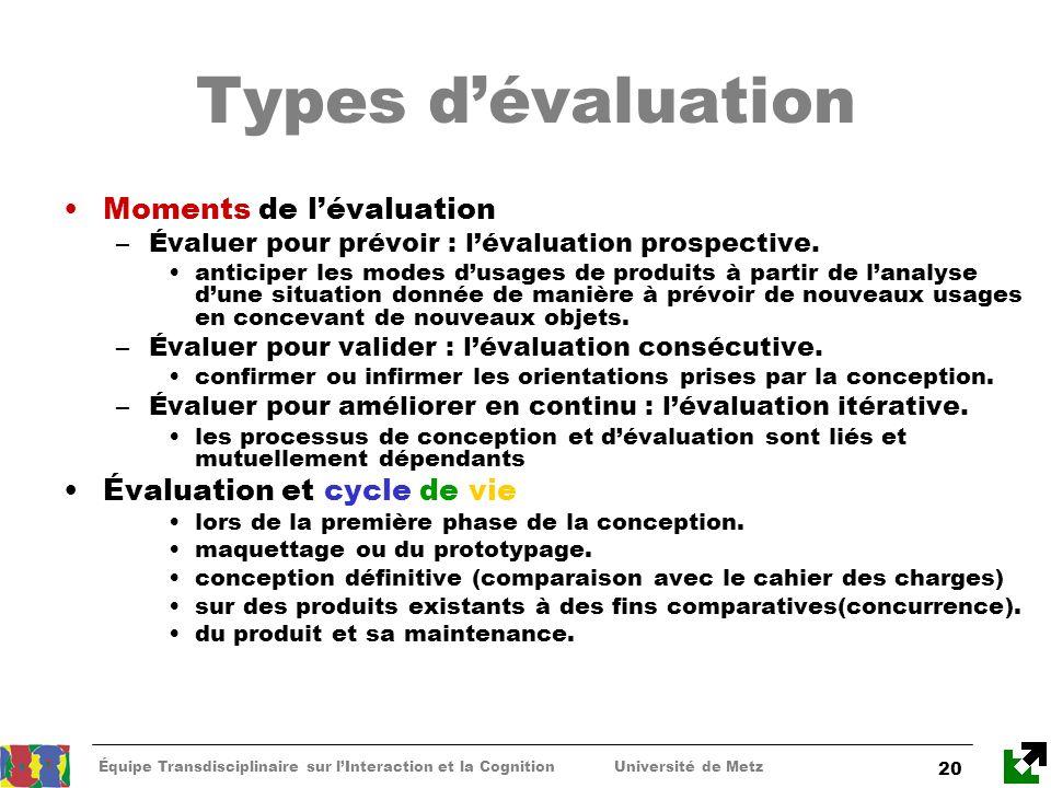 Équipe Transdisciplinaire sur lInteraction et la Cognition Université de Metz 20 Types dévaluation Moments de lévaluation –Évaluer pour prévoir : léva