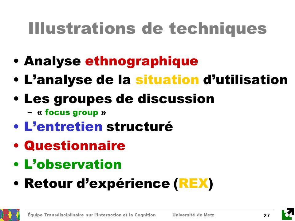Équipe Transdisciplinaire sur lInteraction et la Cognition Université de Metz 27 Illustrations de techniques Analyse ethnographique Lanalyse de la sit