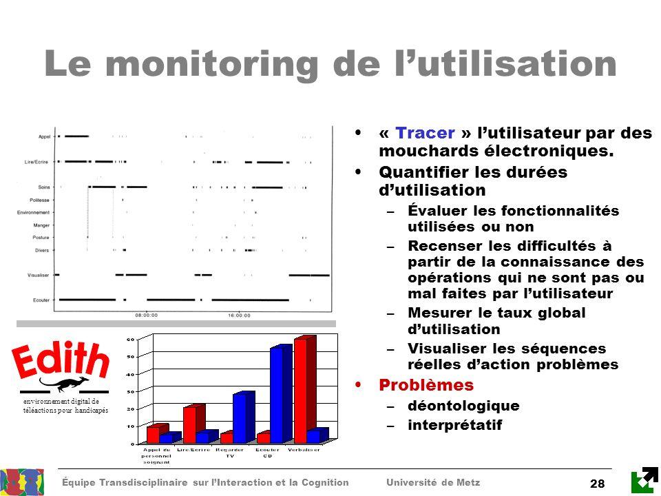 Équipe Transdisciplinaire sur lInteraction et la Cognition Université de Metz 28 Le monitoring de lutilisation « Tracer » lutilisateur par des mouchar